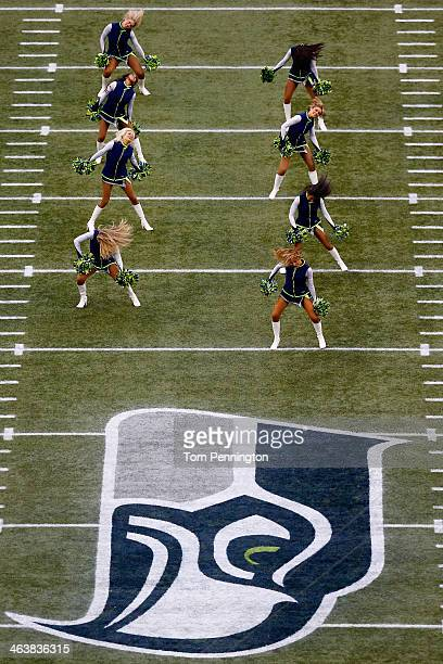 The Sea Gals perform before the Seattle Seahawks take on the San Francisco 49ers in the 2014 NFC Championship at CenturyLink Field on January 19 2014...
