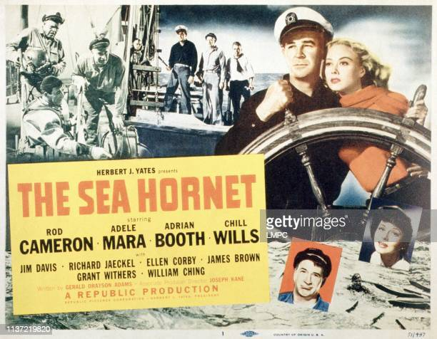 The Sea Hornet poster US poster top from left Jack Pennick Chill Wills Rod Cameron Chill Wills Richard Jaeckel at wheel from left Rod Cameron Adele...
