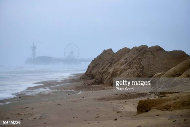 The sea level rises as a hurricaneforce storm blows galewinds up to force 12 in The Hague on January 18 2018 in The Hague Netherlands The Dutch...