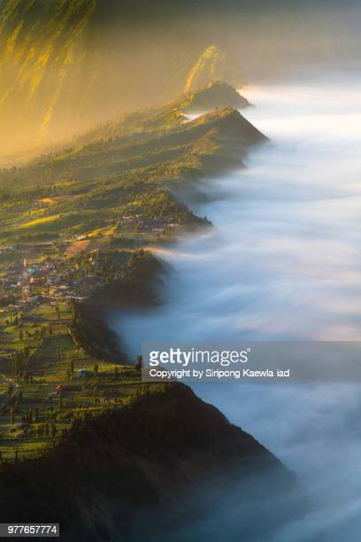 the sea of fog during sunrise at cemoro lawang, east java, indonesia. - copyright by siripong kaewla iad ストックフォトと画像
