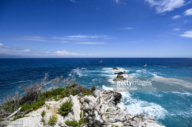 the sea seen from the coast - puletto diego stock pictures, royalty-free photos & images