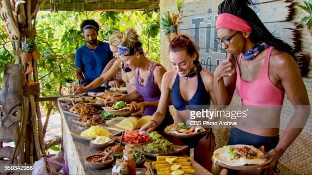 'The Sea Slug Slugger' Wendell Holland Angela Perkins Chelsea Townsend and Laurel Johnson on the ninth episode of Survivor Ghost Island airing...