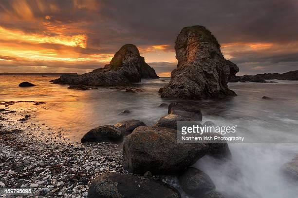 the sea stacks of white park bay, co antrim - county antrim stock pictures, royalty-free photos & images
