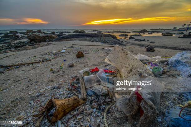 the sea that is full of garbage is on the beach - climate stock photos and pictures