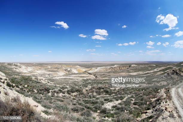 The seabed of the Aral Sea is seen as the water had receded on May 5 2018 near Muynak Uzbekistan The Aral Sea used to be the fourth biggest lake in...