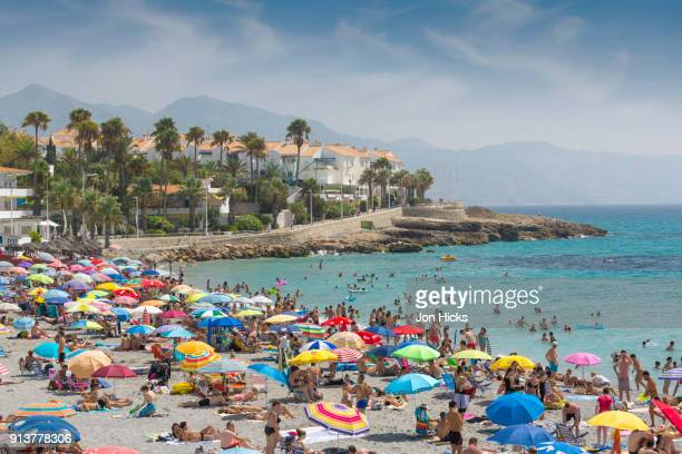 The seafront in Nerja, a popular coastal resort town in Andalusia.