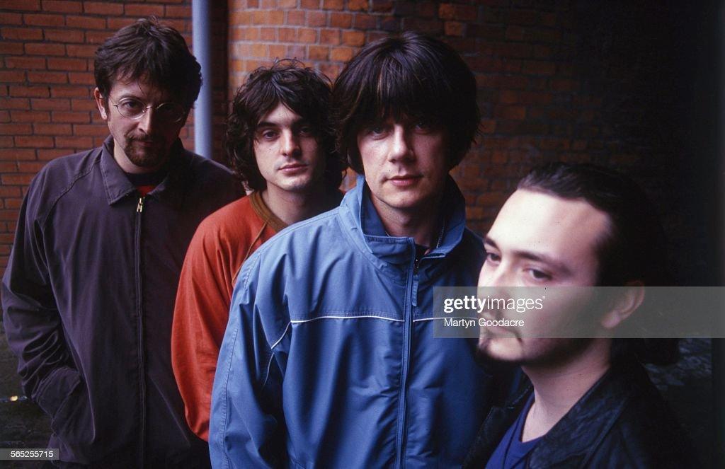 The Seahorses, group portrait, Ireland, 1997. L-R Andy Watts, Chris Helme, John Squire, Stuart Fletcher.