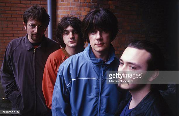 The Seahorses group portrait Ireland 1997 LR Andy Watts Chris Helme John Squire Stuart Fletcher