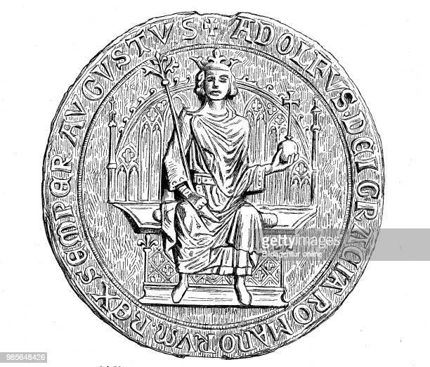 The Seal of Adolf von Nassau in the Municipal Archive of Frankfurt a Main with the inscription Adolfus Dei Gracia Romanorum Rex Semper Augustus...