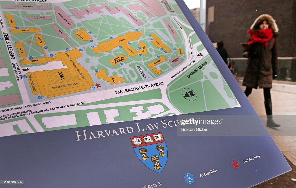 The seal of Harvard Law School in Cambridge, Mass., on an ...