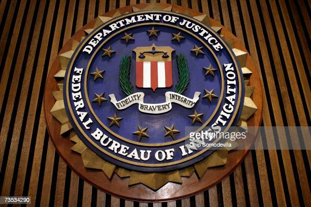 The seal of the F.B.I. Hangs in the Flag Room at the bureau's headquaters March 9, 2007 in Washington, DC. F.B.I. Director Robert Mueller was...