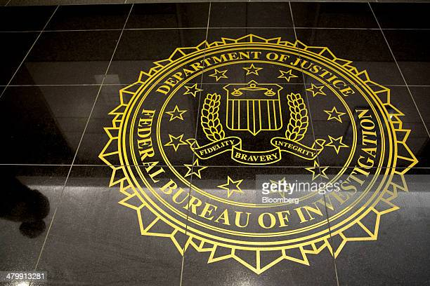 The seal of the Federal Bureau of Investigation is seen on the floor at the FBI's Washington field office in Washington DC US on Thursday March 13...