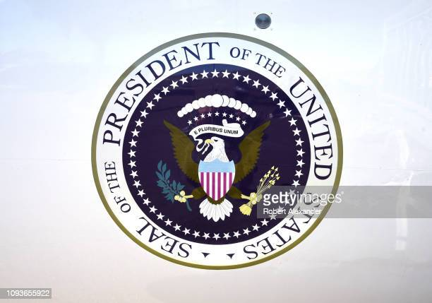 The seal of the President of the United States is painted on the side of the Lockheed JetStar jet plane which flew Lyndon B Johnson and his family in...