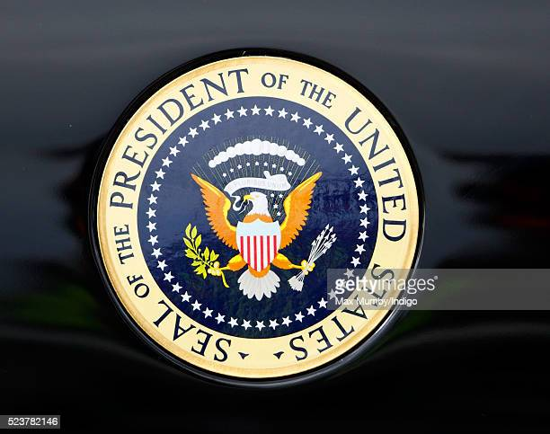 The Seal of the President of the United States seen on the door of the US Presidential State Car prior to US President Barack Obama's departure from...