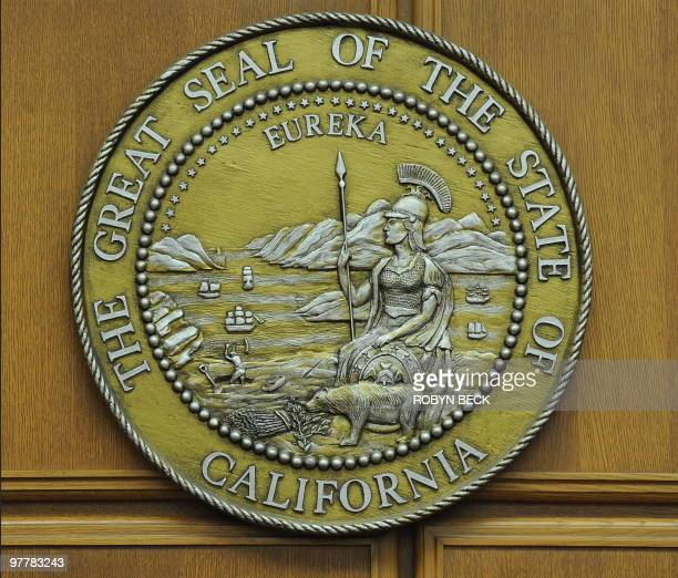 The seal of the state of California hangs in a closed courtroom at the Stanley Mosk Courthouse in downtown Los Angeles March 16 2009 Beset by an...