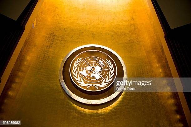 The seal of the United Nations in the General Assembly hall at United Nations headquarters in New York City on September 21, 2009. The U.N. Will host...