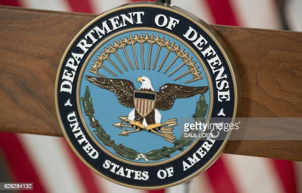 The seal of the US Department of Defense is seen at DAR Constitution Hall in Washington DC November 28 2016 / AFP PHOTO / SAUL LOEB