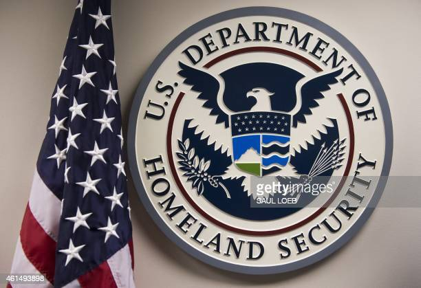 The seal of the US Department of Homeland Security is seen at the National Cybersecurity and Communications Integration Center in Arlington Virginia...