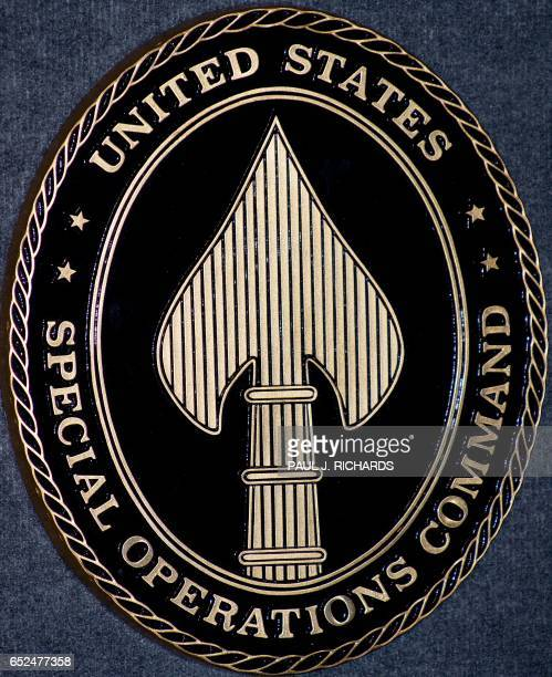 The seal of the US Special Operations Command is seen on May 21 2008 in Tampa Florida The fourstar command prepares Special Operation Forces from the...