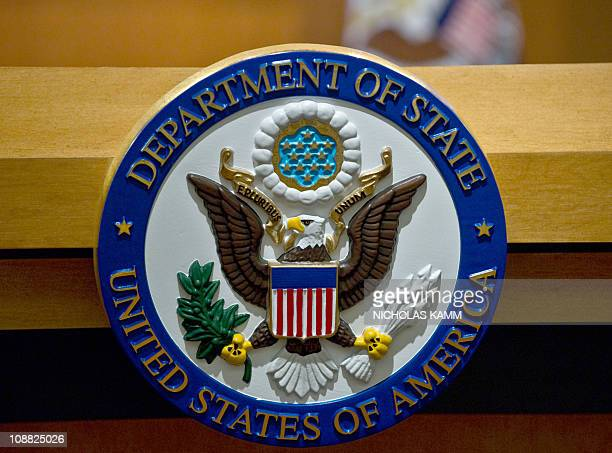 The seal of the US State Department is seen at the State Department briefing room in WashingtonDC on February 4 2011 AFP PHOTO/Nicholas KAMM