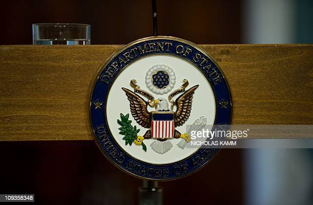 The seal of the US State Department is seen in the department's Treaty Room before US Secretary of State Hillary Clinton and Latvian Foreign Minister...