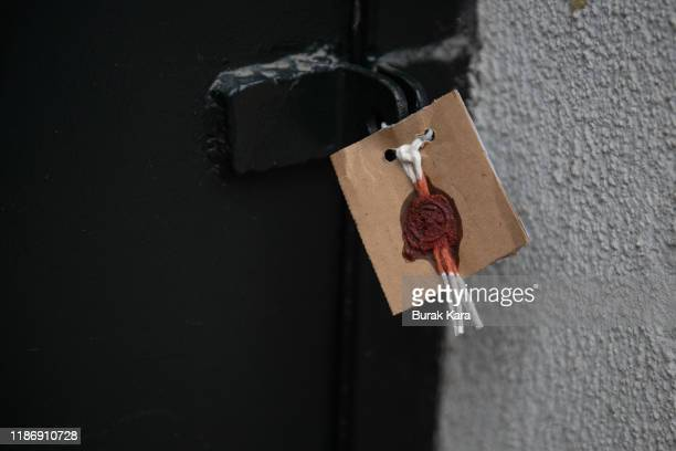 The sealed entrance of a home reportedly belonging to James Le Mesurier where his body was found dead in the early hours of this morning on November...