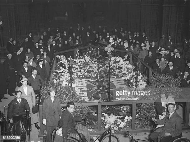 The sealing of the Grave of the Unknown Warrior at Westminster Abbey in London.