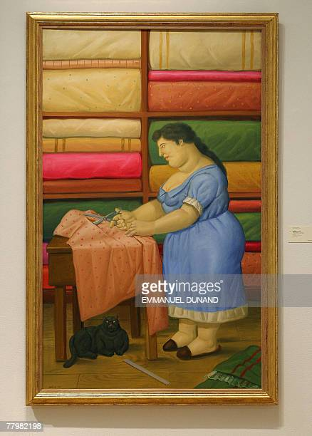 The Seamstress by Colombian artist Fernando Botero is on display at Sotheby's auction house in New York 19 November 2007 Sotheby's will hold its...