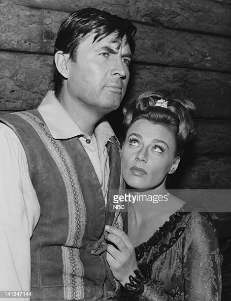 BOONE The Search Episode 24 Aired Pictured Fess Parker as Daniel Boone Nita Talbot as Sylvie Du Marais Photo by NBCU Photo Bank