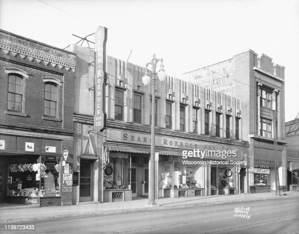 The Sears, Roebuck and Company store, 313 State Street, Madison, Wisconsin, May 5, 1934. The building, built in 1927, is Art Deco style with a...