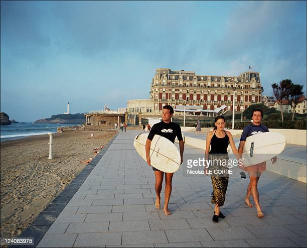 The seaside beautiful villas of Biarritz InFrance In October 1997 Hotel du Palais and the boardwalk today