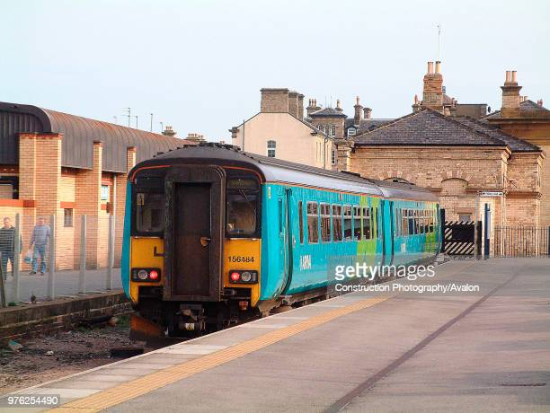 The seaside resort of Saltburn is still served by a frequent number of trains usually Sprinters such as this local service to Newcastle awaiting...