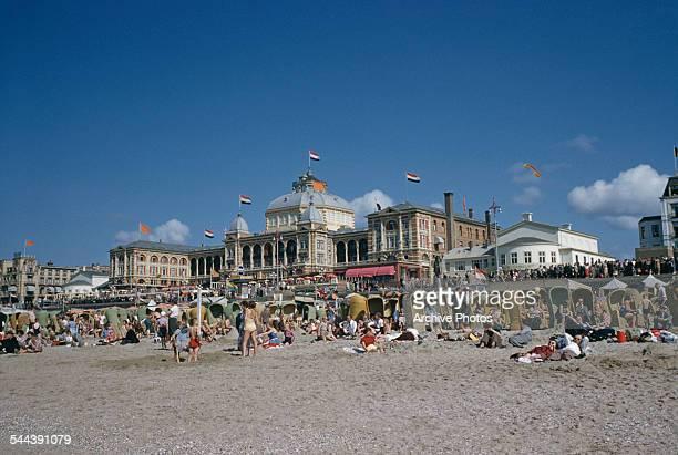 The seaside resort of Scheveningen in The Hague Netherlands with the Kurhaus hotel behind circa 1965