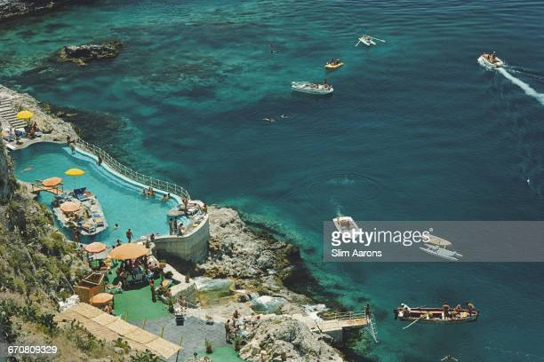 The seaside swimming pool at the Hotel Taormina in Taormina Sicily August 1975