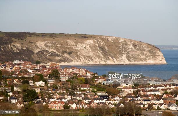 The seaside town of Swanage is pictured as police and other search and rescue agencies perform a search in the open space above the coast near to...