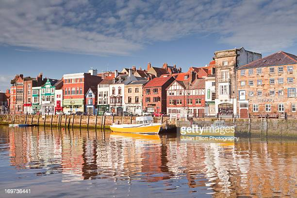 the seaside town of whitby in the north york moors - whitby north yorkshire england stock pictures, royalty-free photos & images