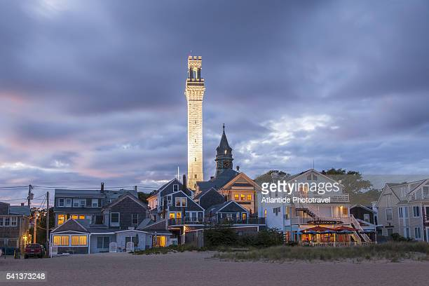 the seaside with pilgrim tower - massachusetts stock pictures, royalty-free photos & images