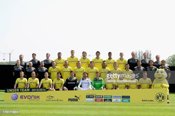 The Season 2013/2014 team of Borussia Dortmund poses during the Borussia Dortmund Team Presentation at Brackel Training Ground on July 9 2013 in...