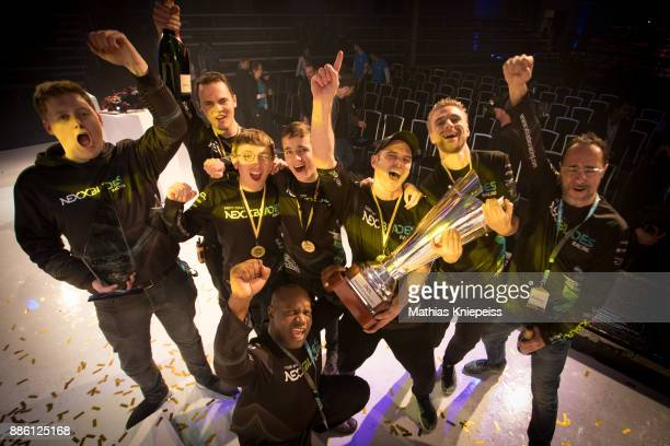 The Season Champion Team Nexxtblades is celebrating on stage at Station Berlin during the DCL Drone Champions League Championship Finals in Berlin on...