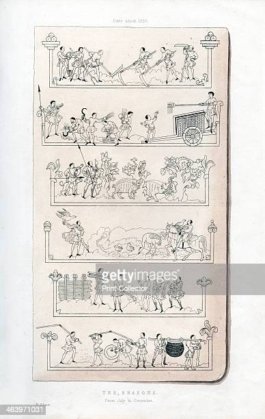 The Seasons c1050 Copy of a manuscript showing agricultural occupations from July to December July mowing and making hay August reaping September...
