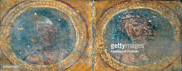 'The Seasons Calender by unknown artist 4579 1st Century AD ripped fresco 35 x 65 cm Italy Campania Naples National Archaeological Museum Room...