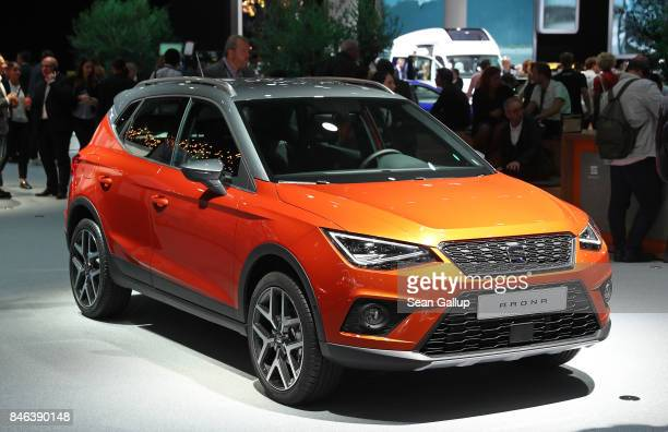 The Seat Arona crossover car stands at the 2017 Frankfurt Auto Show on September 13 2017 in Frankfurt am Main Germany The Frankfurt Auto Show is...