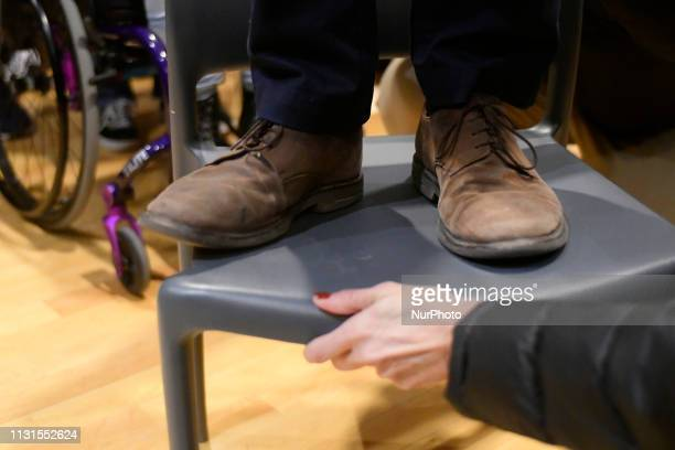 The seat Beto ORourke stands on is secured as the candidate gives a speech during a campaign stop in State College PA on March 19 2019 The candidate...