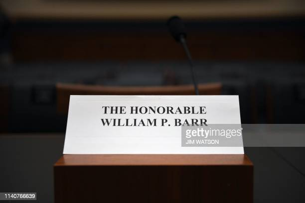 The seat for US Attorney General Bill Barr at the House Judiciary Committee room on Capitol Hill in Washington DC on May 2 2019 Barr has refused to...