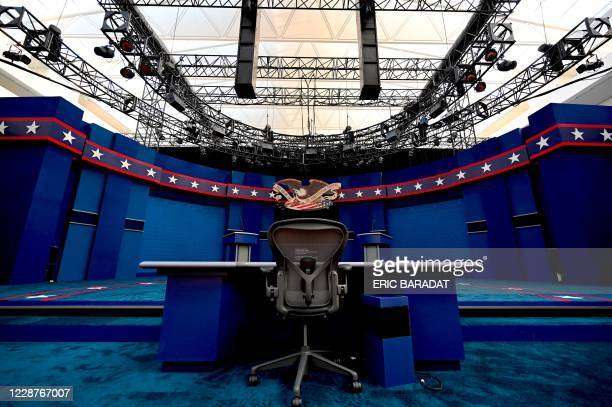 The seat of the Fox News moderator Chris Wallace is seen as preparations are going on at site of the first US Presidential debate is seen on...