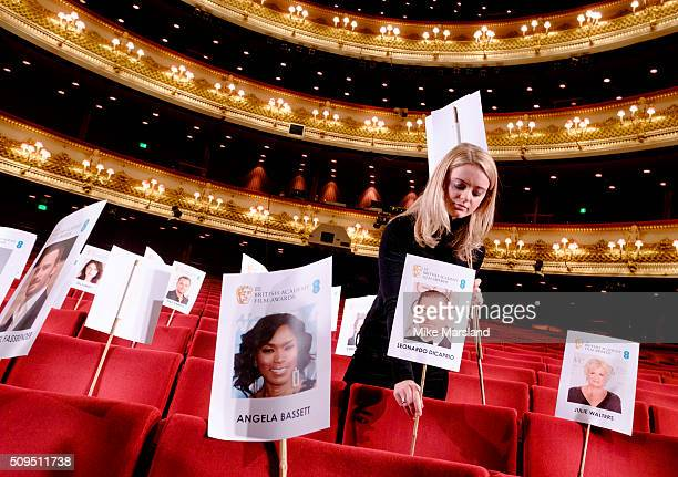 The seat placing during the annual BAFTA heads on sticks photocall at The Royal Opera House on February 11 2016 in London United Kingdom The seating...