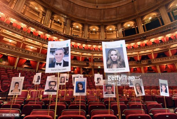 The seating plan is revealed during the EE British Academy Film Awards 'Heads On Sticks' photocall at Royal Albert Hall on February 15 2018 in London...