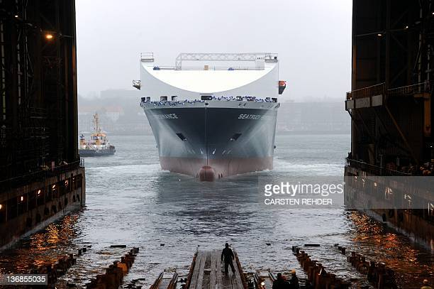 The Seatruck Performance ferry built for the British Seatruck shipping company is launched on January 12 2012 at the Flensburger...