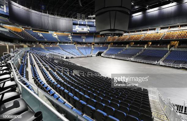 The seats are empty at the Amway Center in Orlando home of the NBAs Orlando Magic on Thursday March 12 2020 The NBA has suspended the season due to...