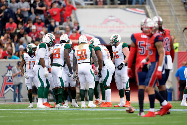 The Seattle Dragons huddle during the XFL game against the Houston Roughnecks at TDECU Stadium on March 7 2020 in Houston Texas